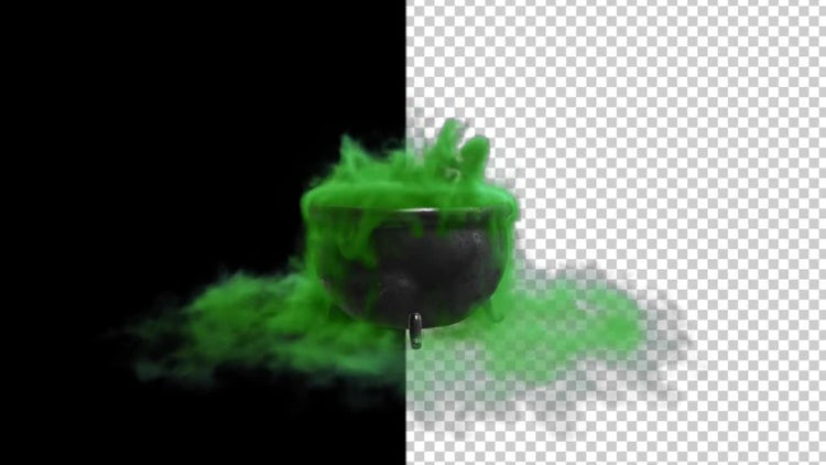 Witch Cauldron With Green Smokey Liquid: Stock Motion Graphics