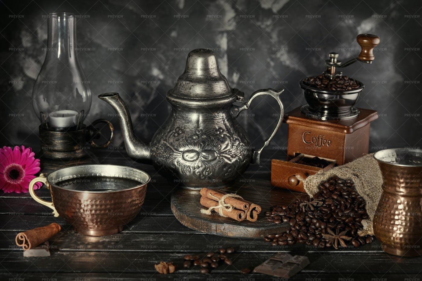 Vintage Coffee Equipment: Stock Photos