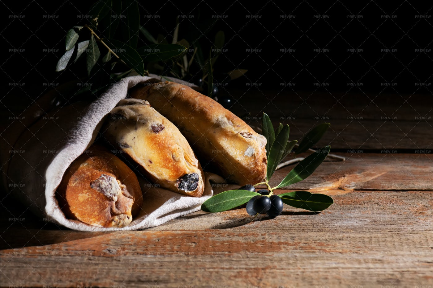 Puccia Breads With Olives: Stock Photos