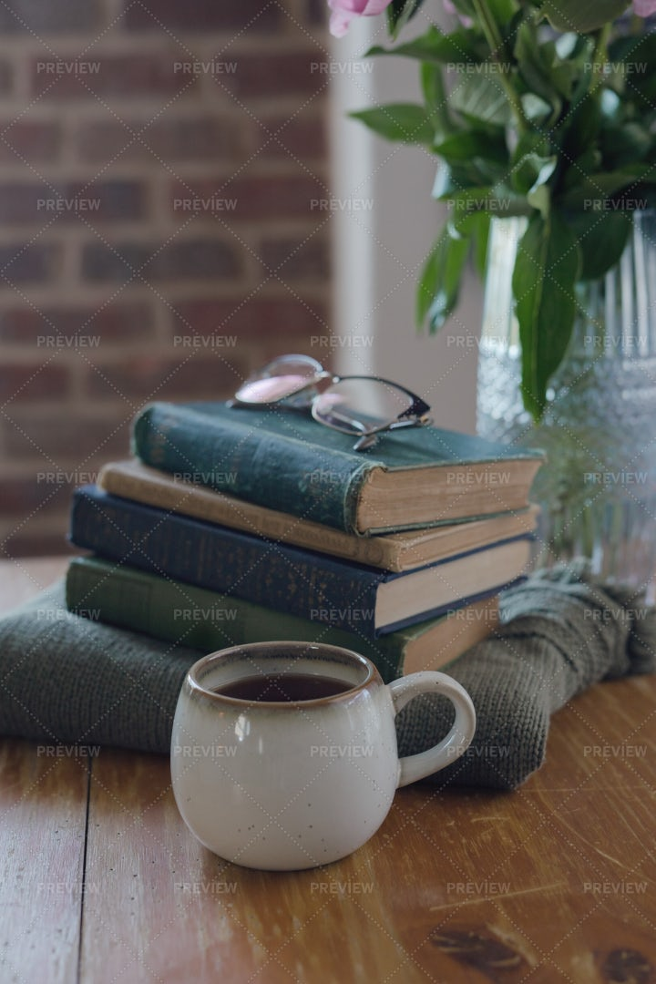 Old Books And Coffee: Stock Photos