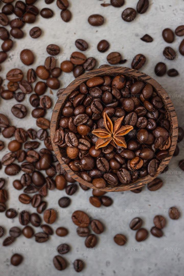Star Anise Atop Coffee Beans: Stock Photos