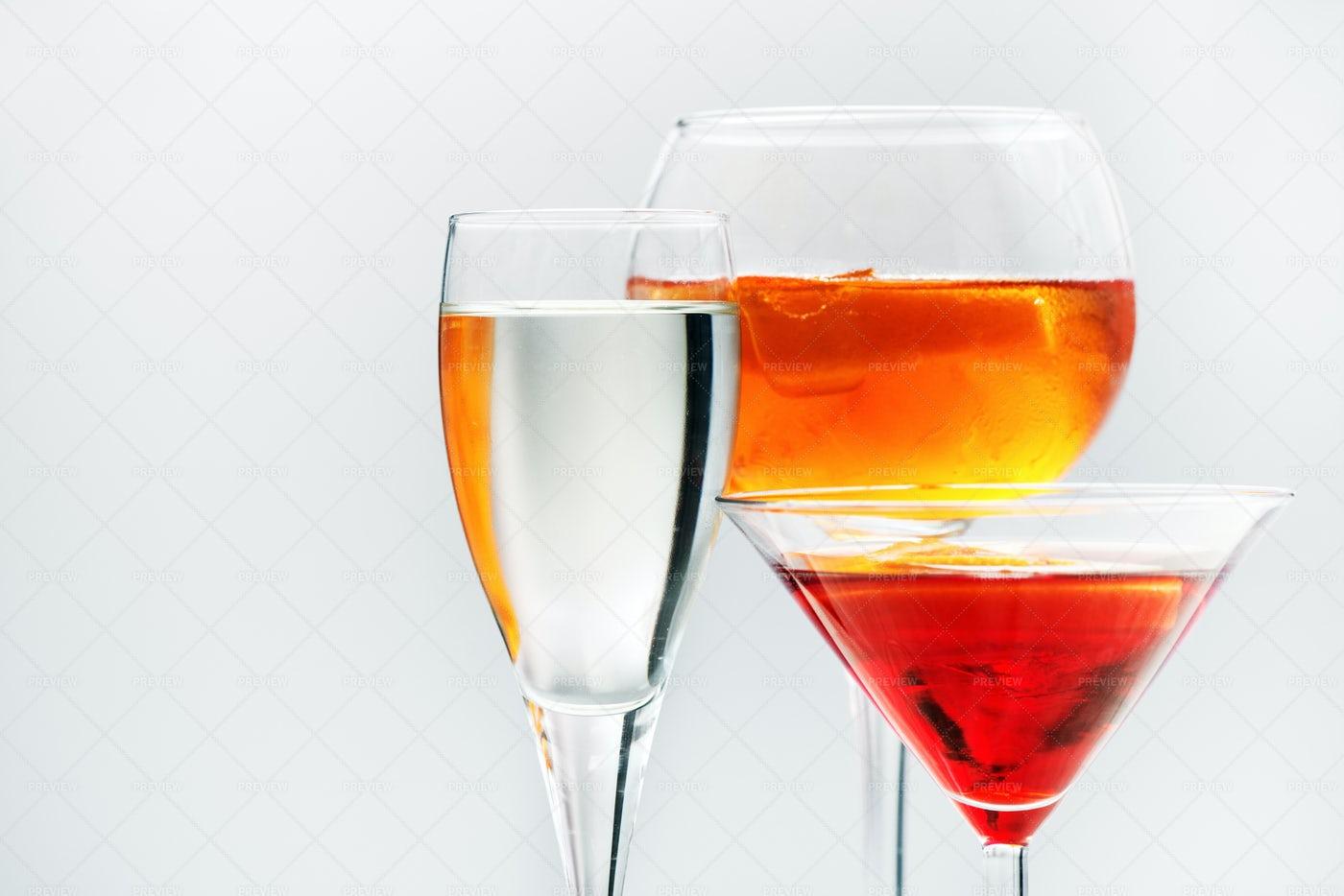 Three Alcoholic Beverages: Stock Photos