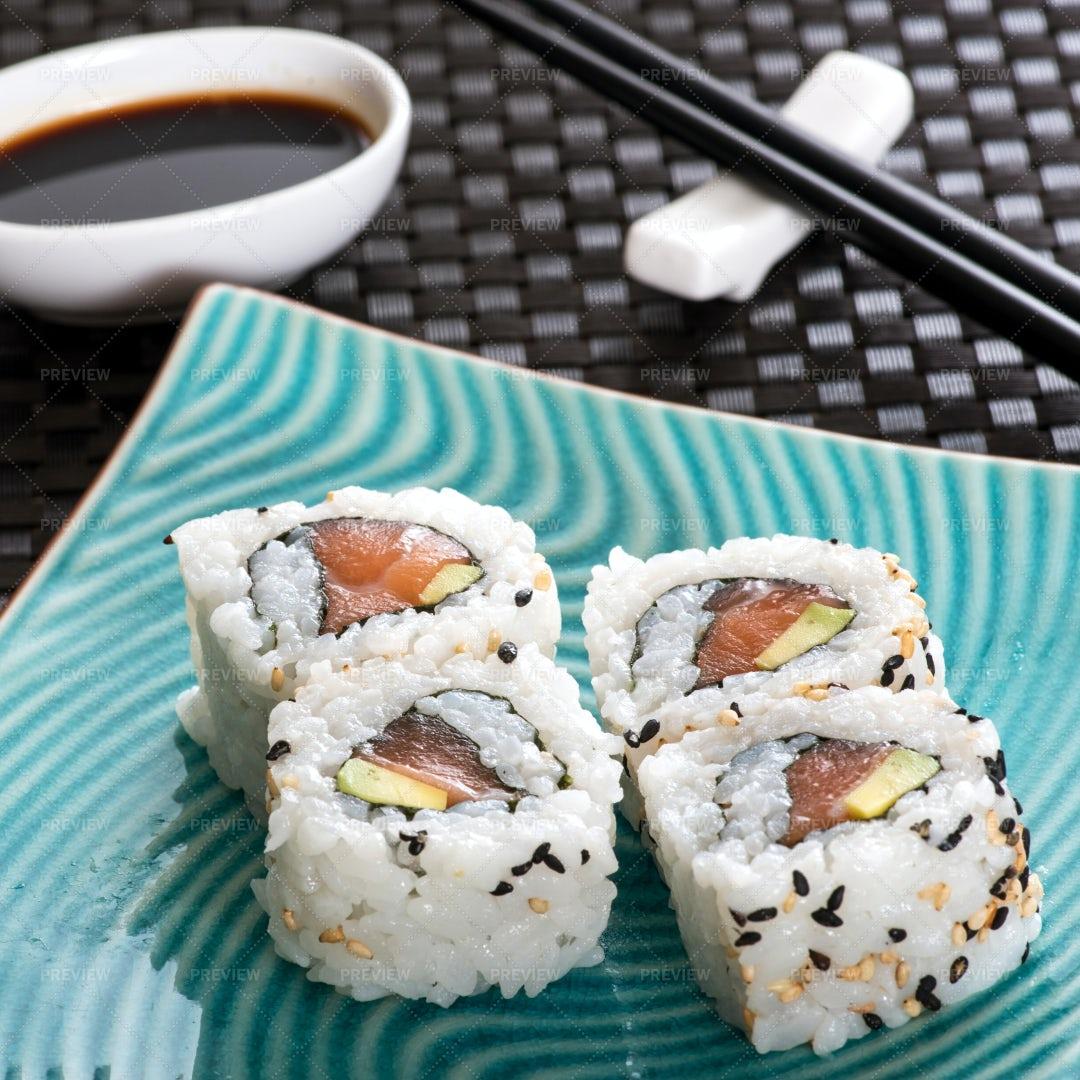 Four Sushi Rolls: Stock Photos
