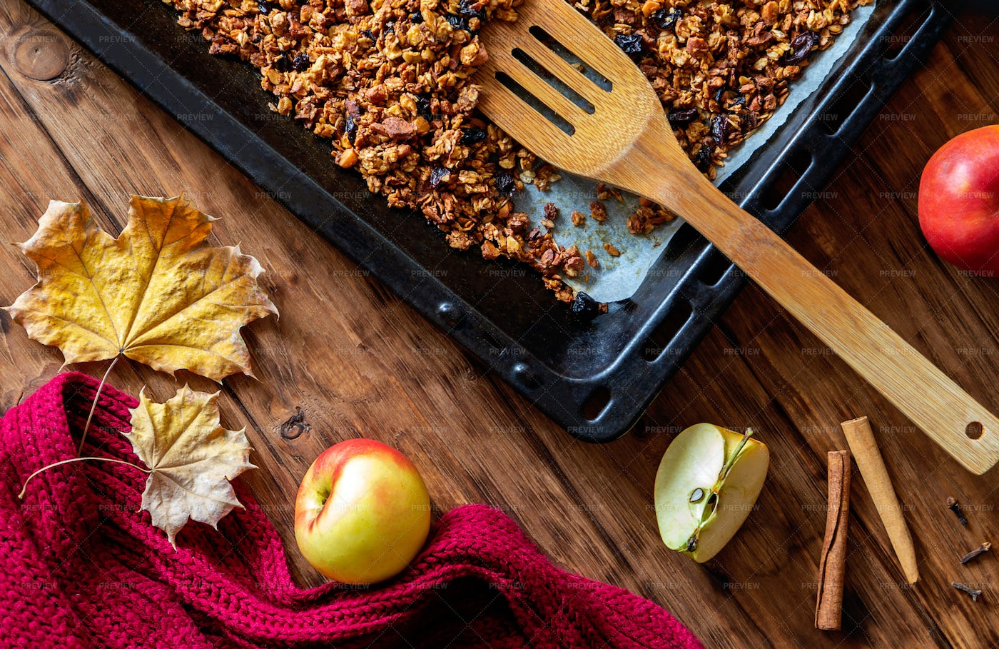 Cooking Granola With Apple: Stock Photos