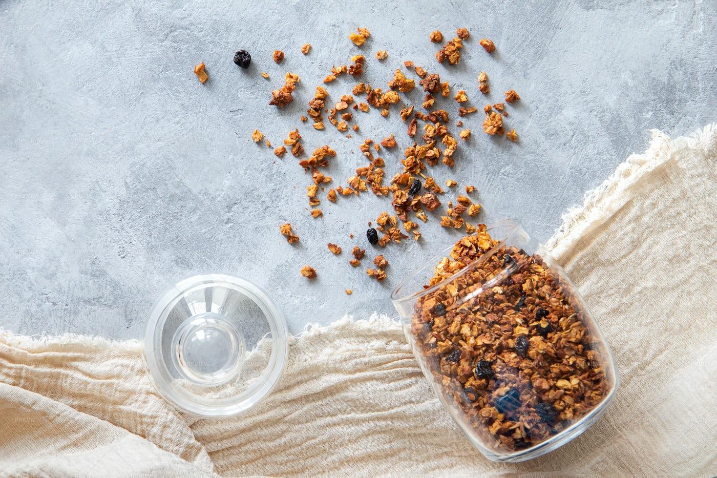 Glass Jar Of Granola: Stock Photos