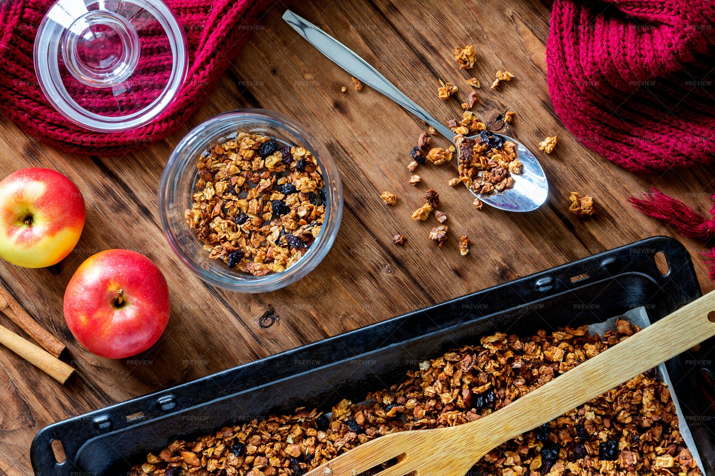 Apple Granola With Spices: Stock Photos