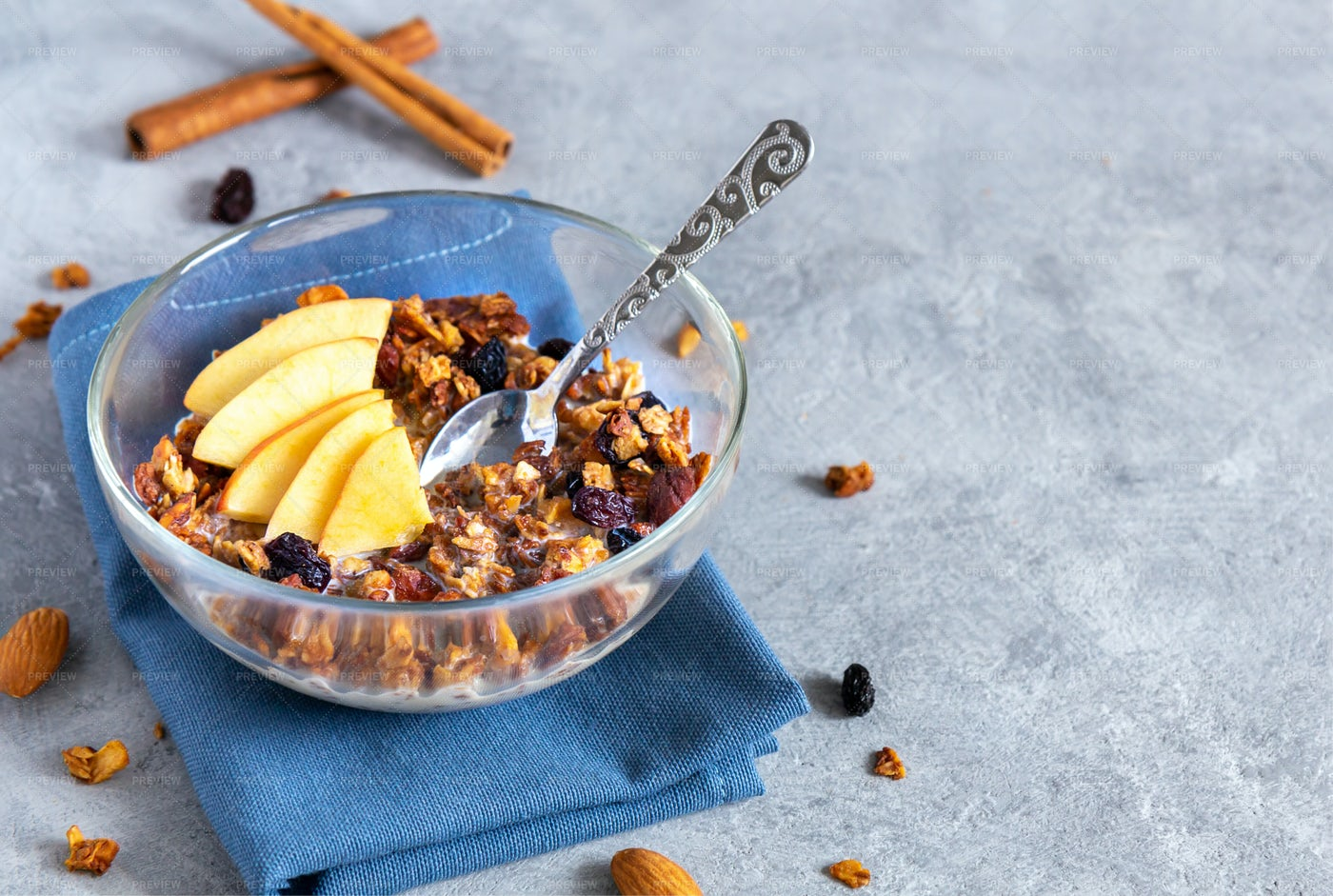 Oat Granola With Apples: Stock Photos