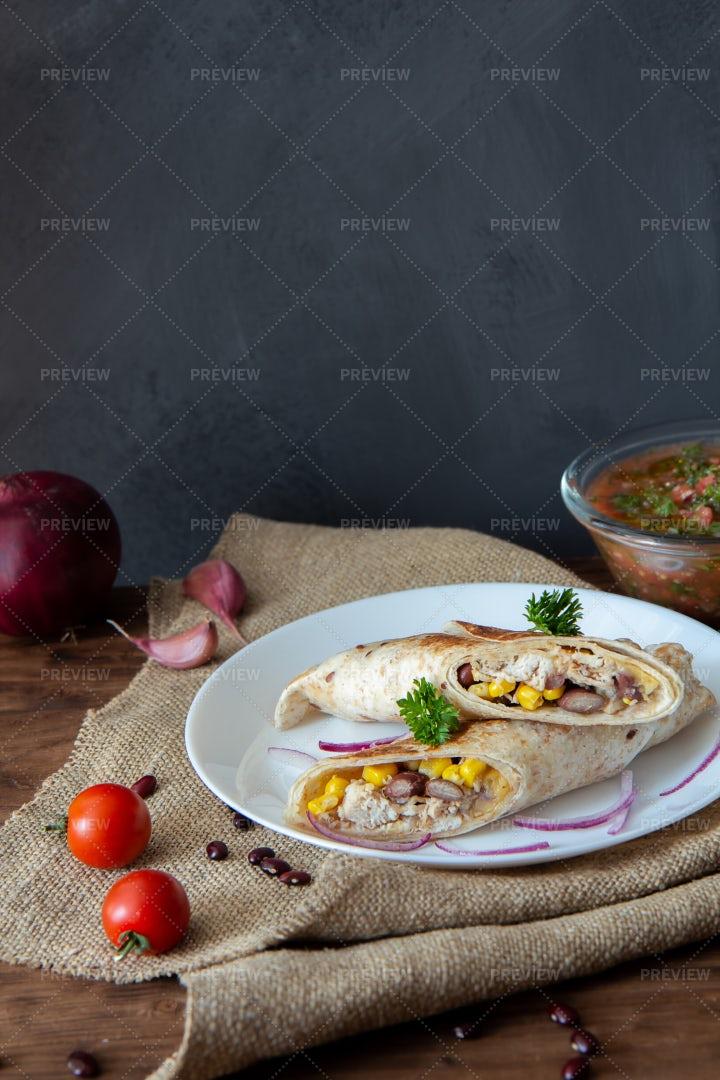 Chicken Burritos For Dinner: Stock Photos