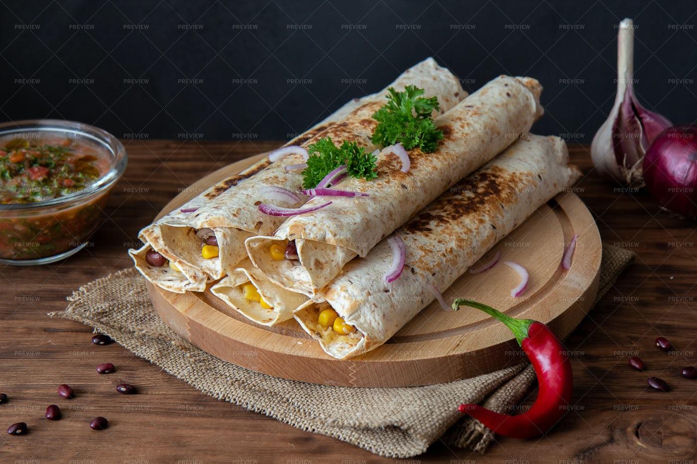 A Pile Of Burritos: Stock Photos