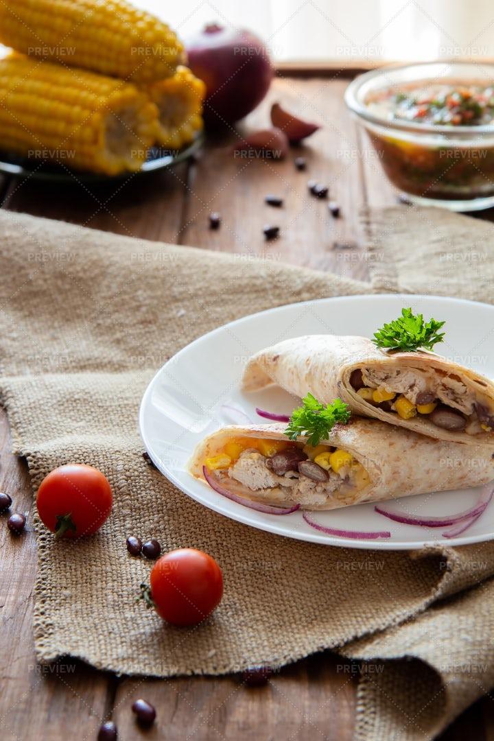 Toasted Chicken Burritos: Stock Photos