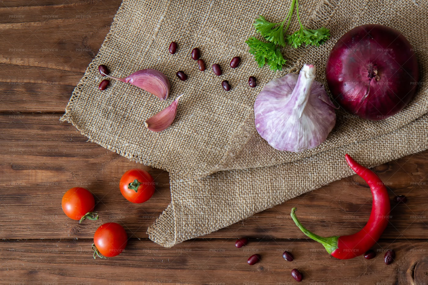 Garlic, Onions And Peppers: Stock Photos