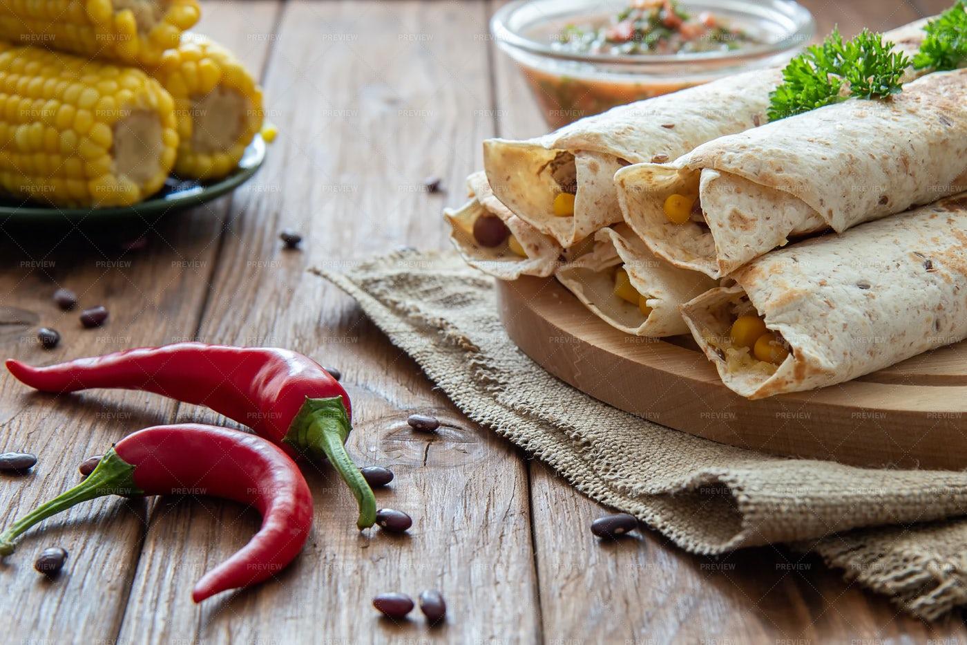 Chicken And Beans Burrito: Stock Photos