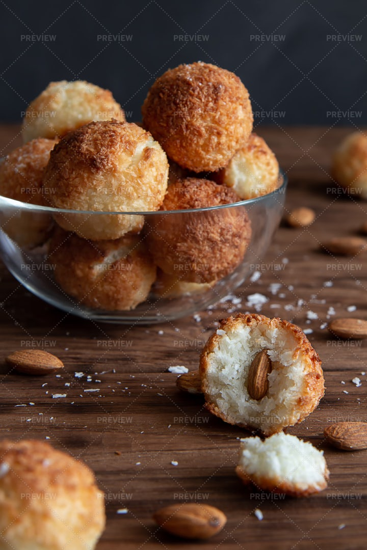 Bowl Of Coconut Cookies: Stock Photos