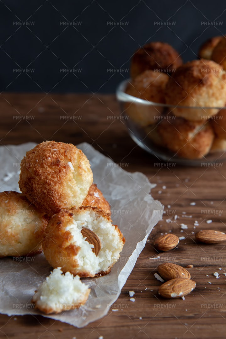 Coconut Cookies With Almonds: Stock Photos