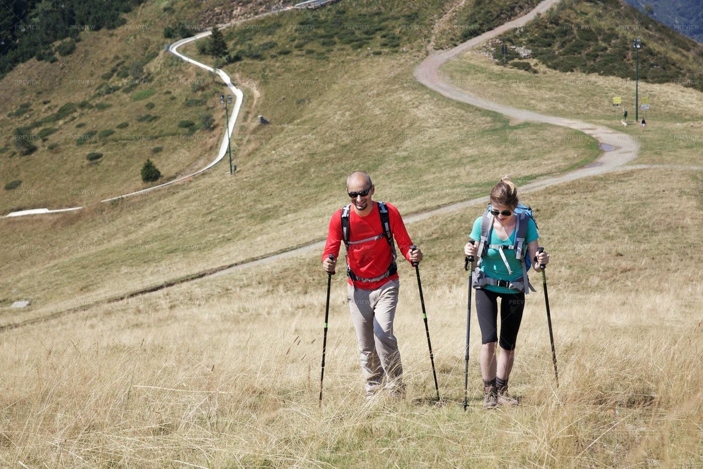 Hiking A Mountain: Stock Photos