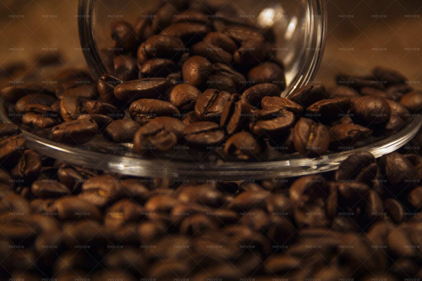Pouring Out Coffee Beans: Stock Photos