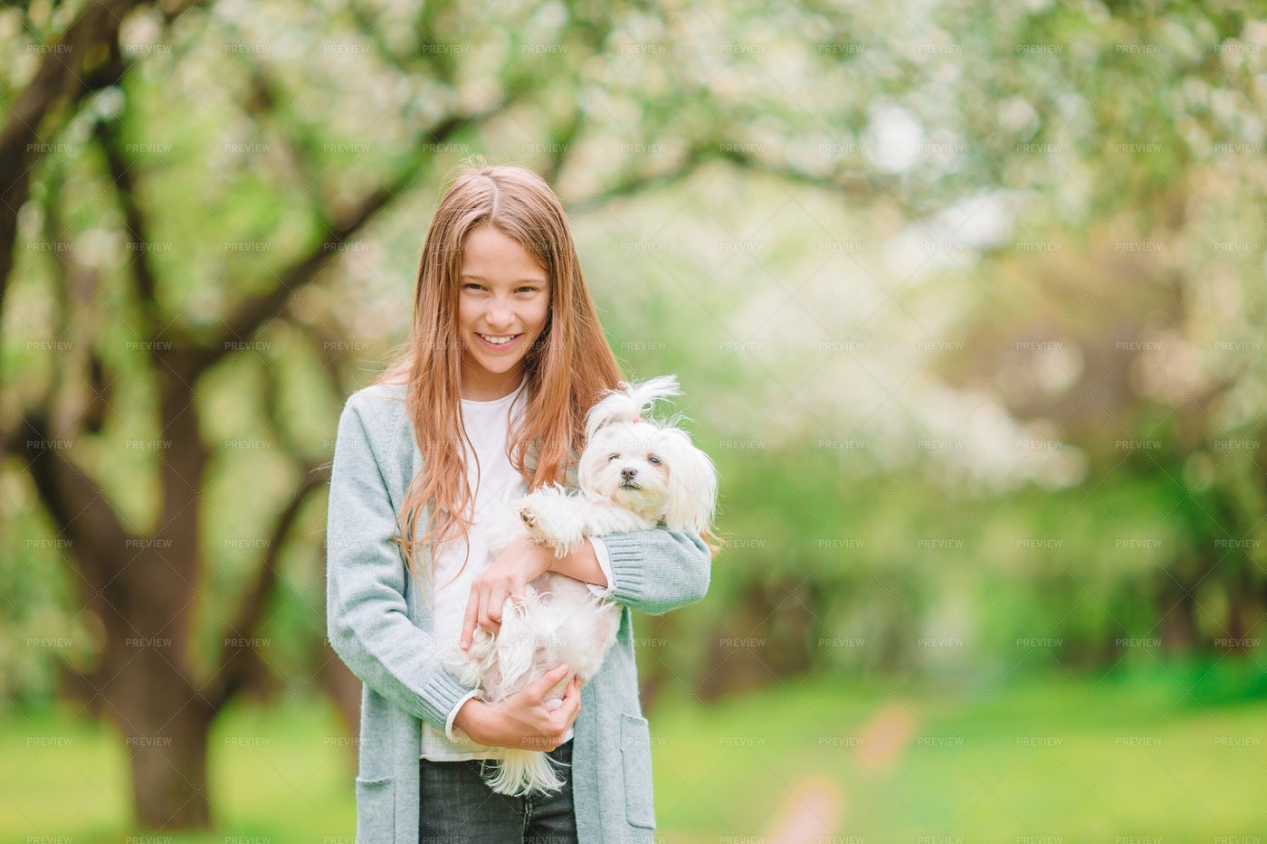 Girl And Puppy: Stock Photos