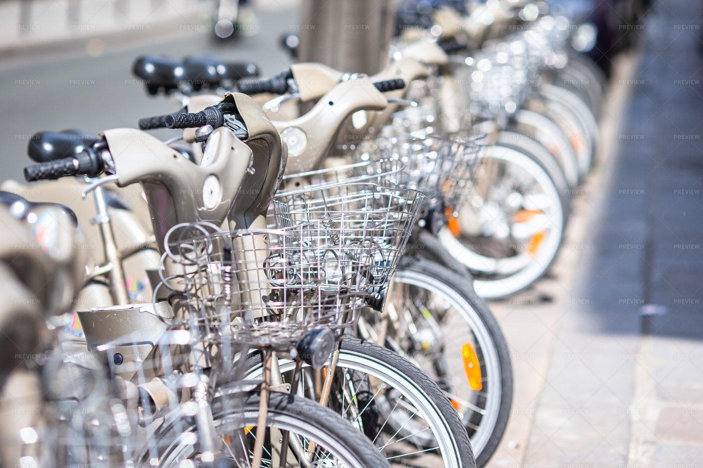 Bikes In A Row: Stock Photos
