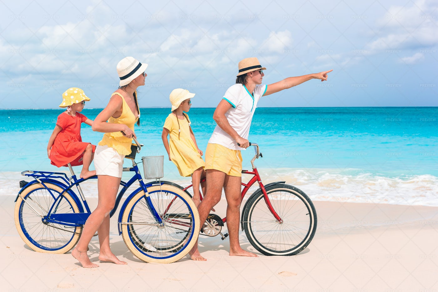 Family With A Bike: Stock Photos