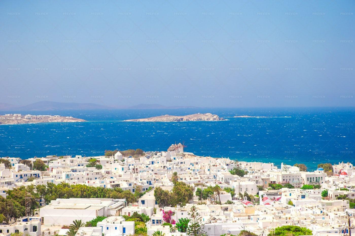 Greek Village Aerial: Stock Photos