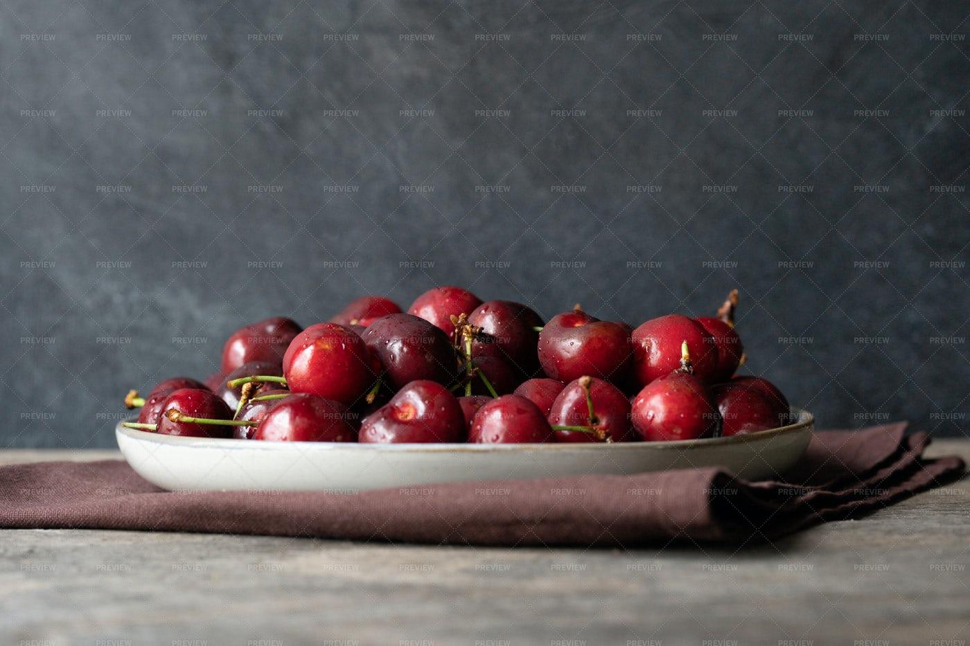 Fresh Cherries On Plate: Stock Photos
