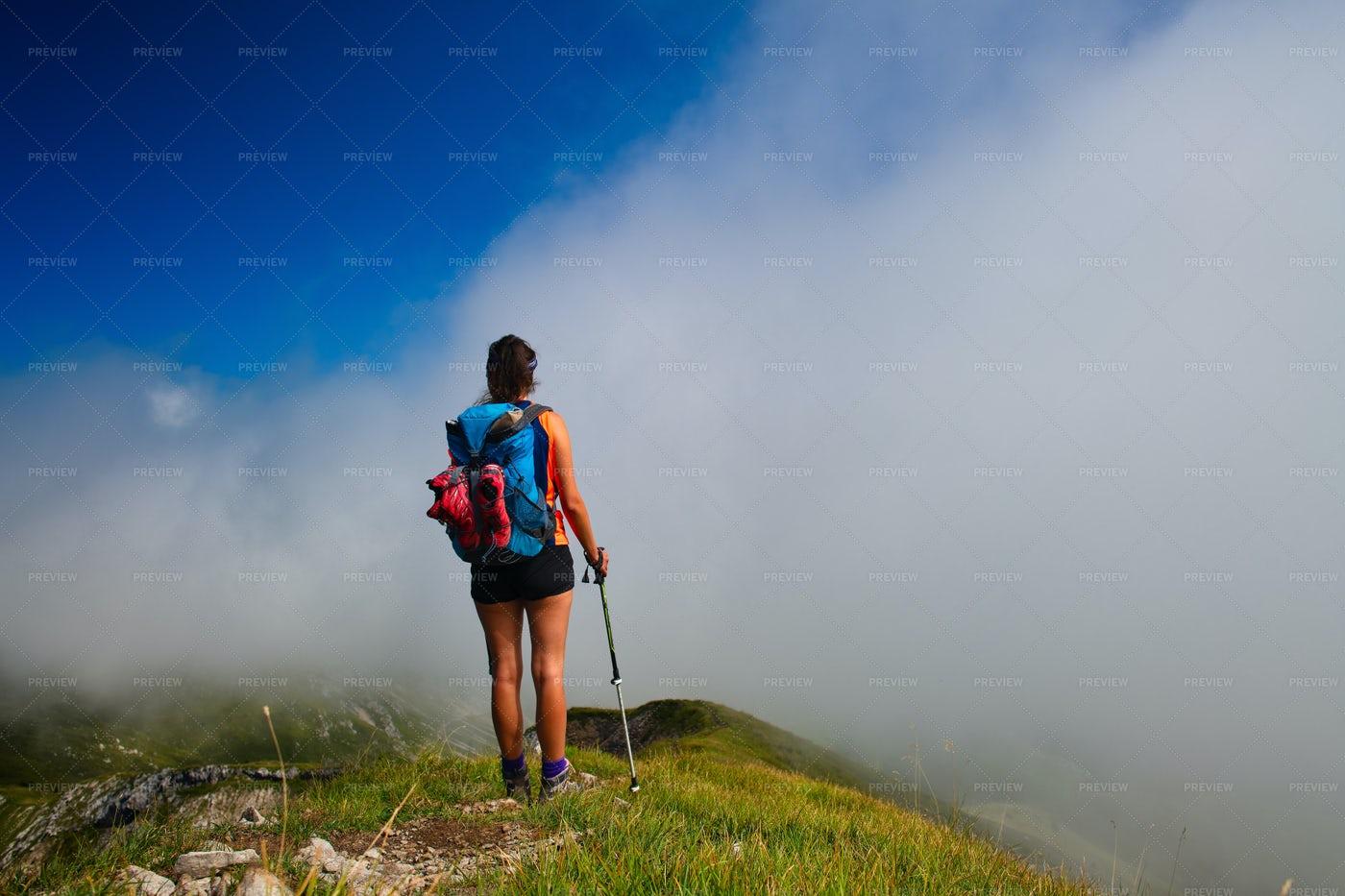 Hiker In Foggy Mountain: Stock Photos