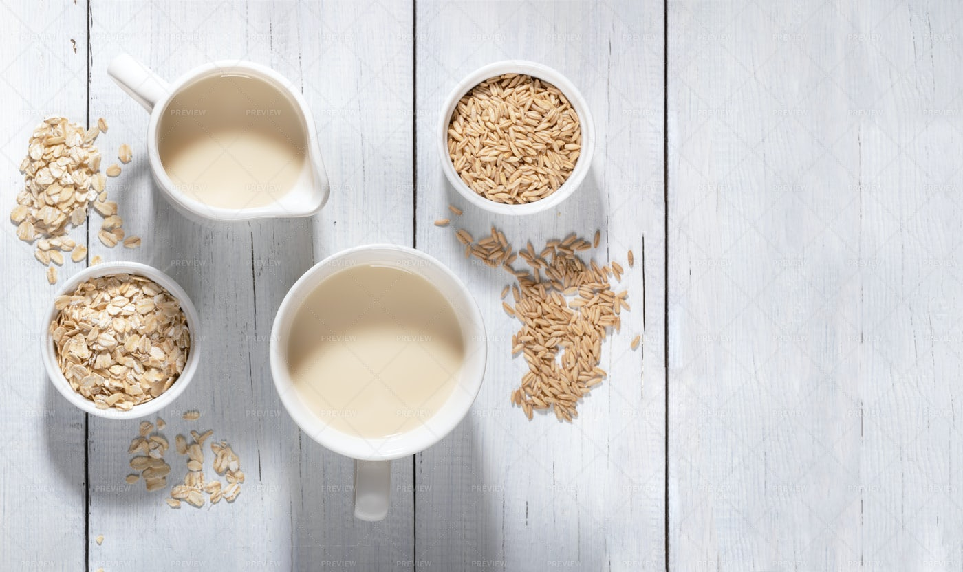 Oat Flakes And Milk: Stock Photos