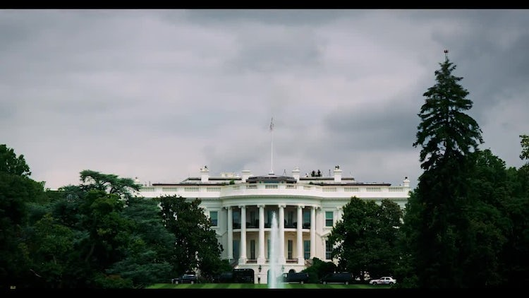White House Front With Fountain  : Stock Video
