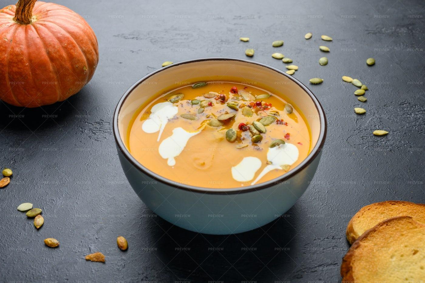 Pumpkin Cream Soup: Stock Photos