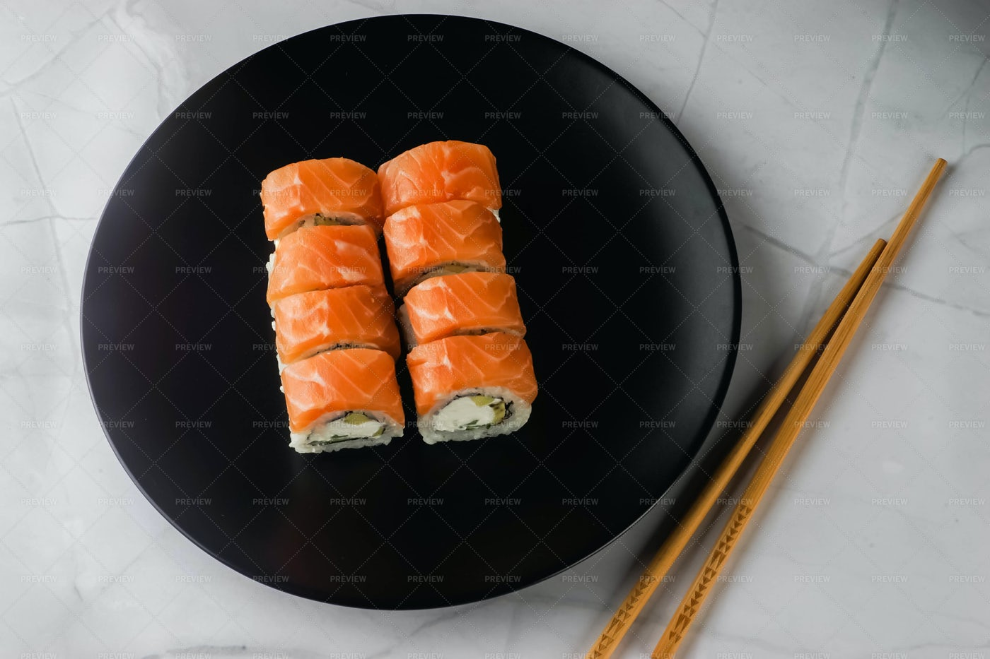 Rolls With Orange Salmon: Stock Photos