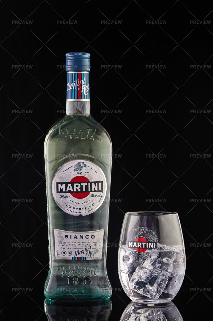 Martini Bottle And Glass: Stock Photos