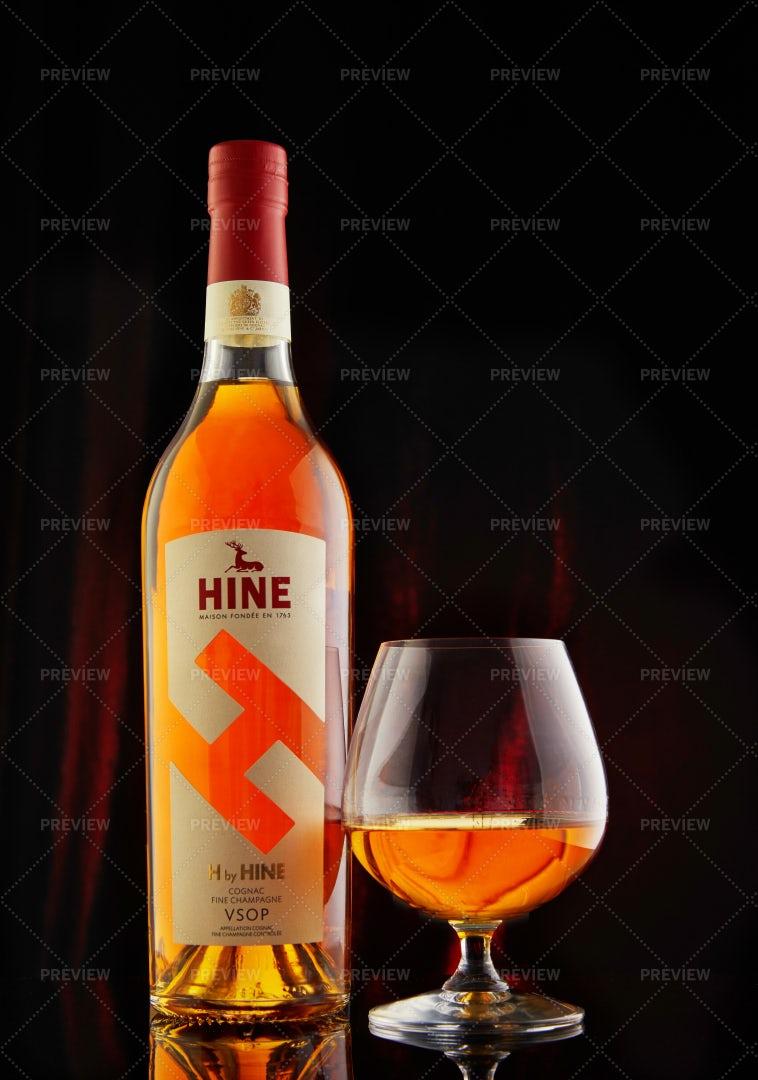 Hine Cognac With A Glass: Stock Photos