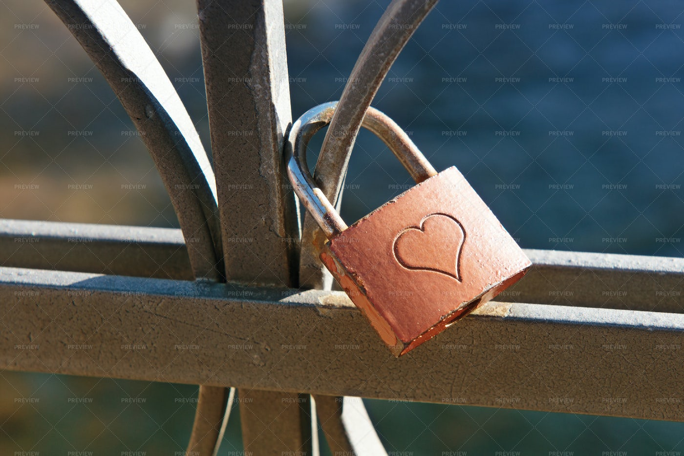 Lock Engraved With A Heart: Stock Photos
