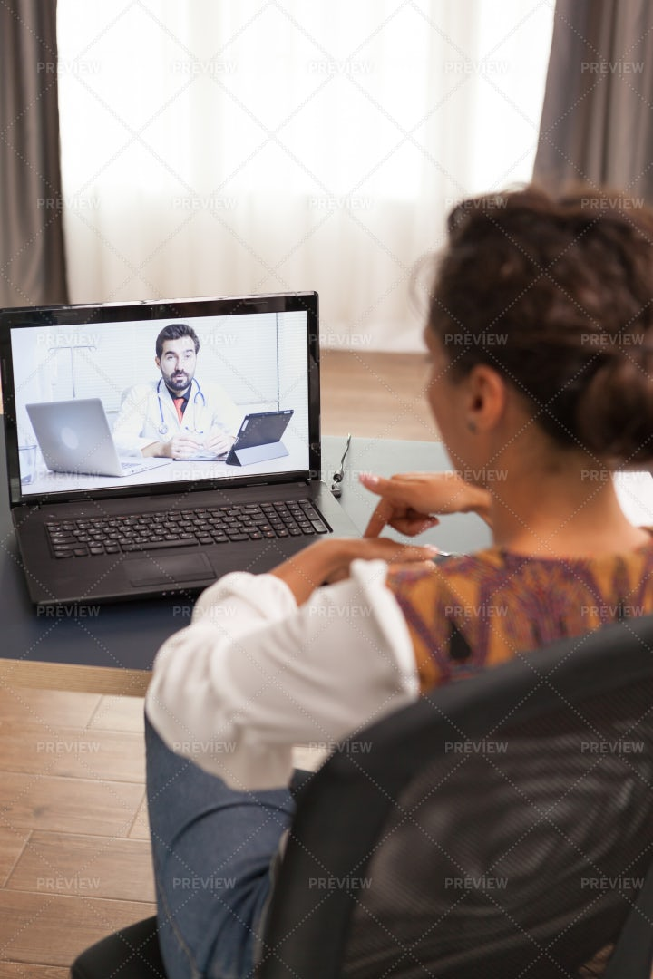 Talking To Doctor Online: Stock Photos