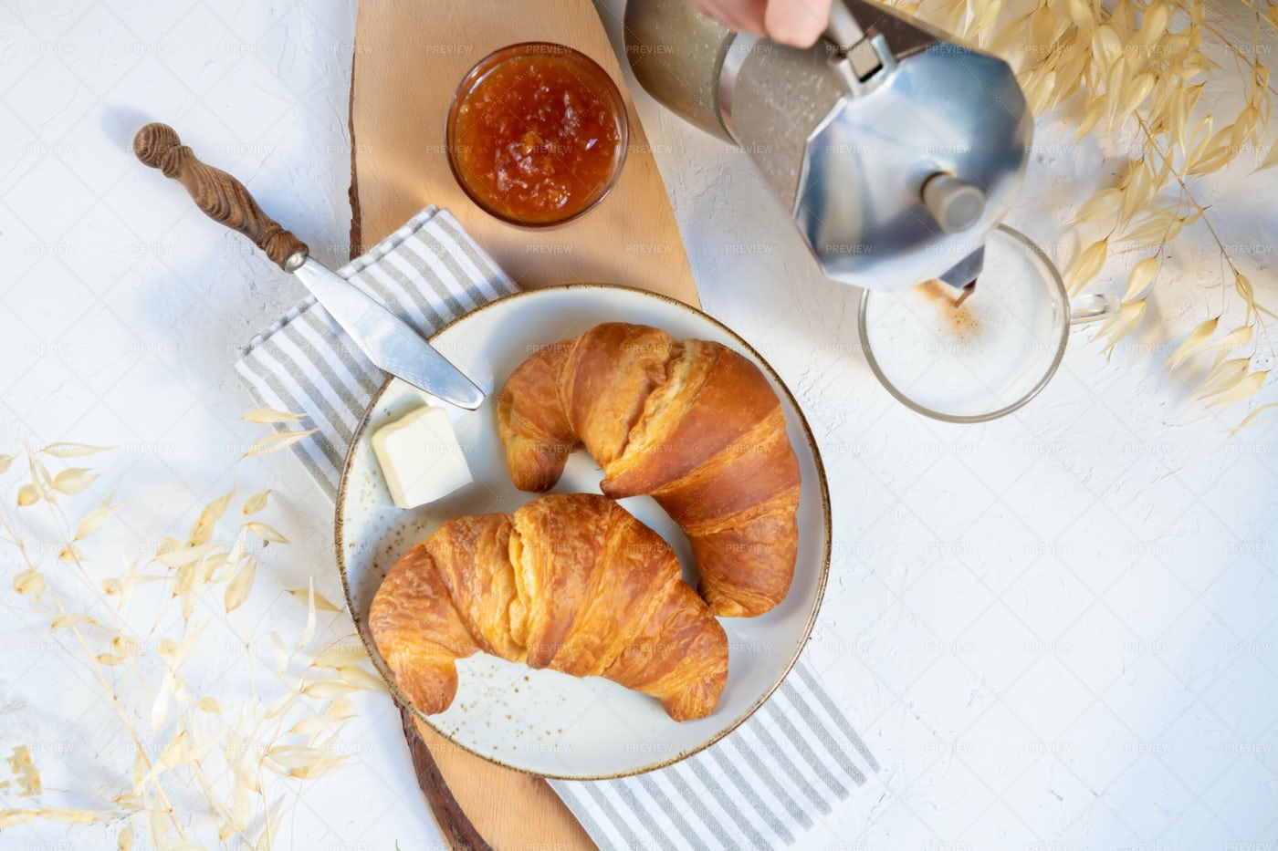 Two Croissants And Coffee: Stock Photos