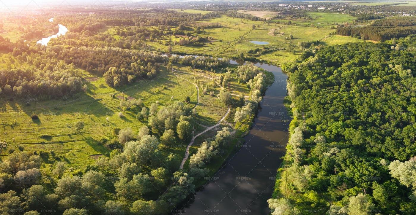 Evening River Panorama: Stock Photos