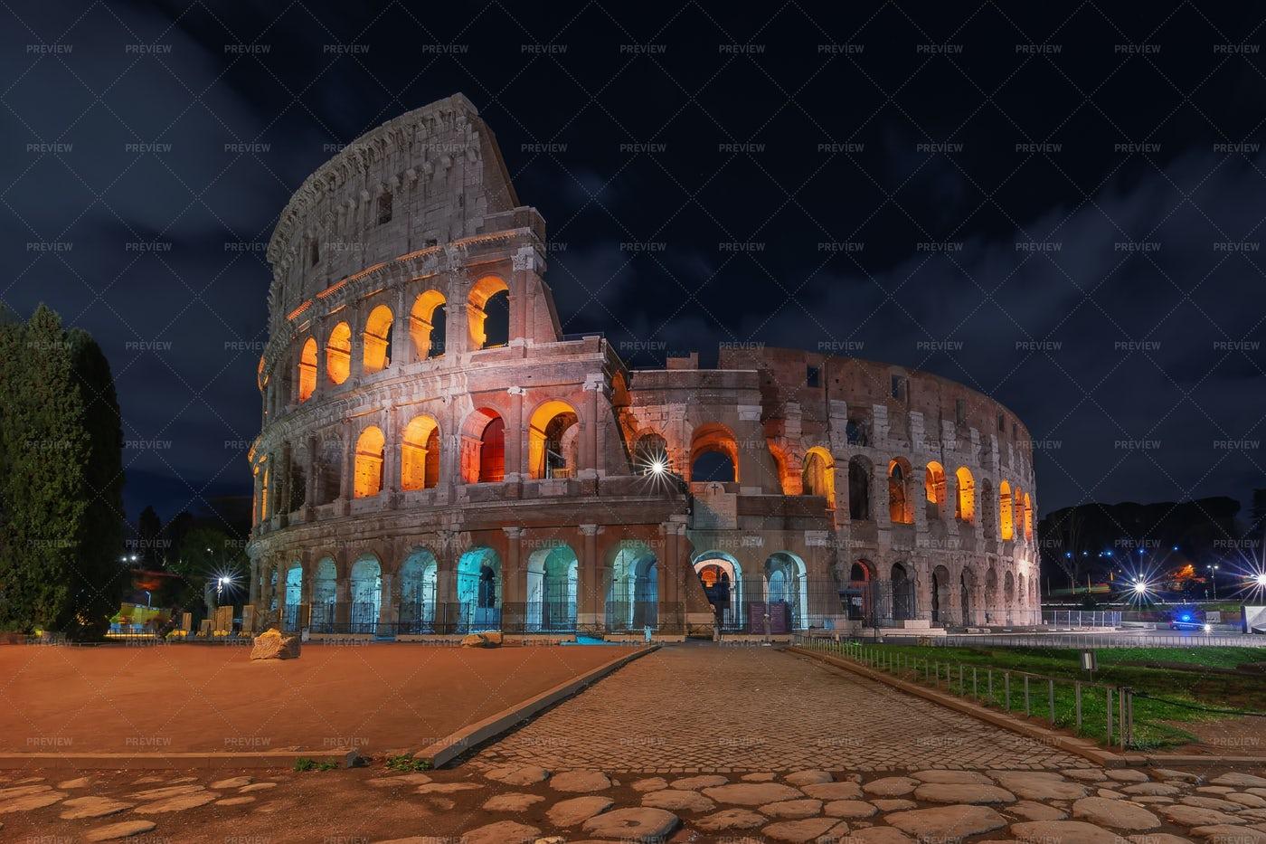 Roman Colosseum At Night: Stock Photos