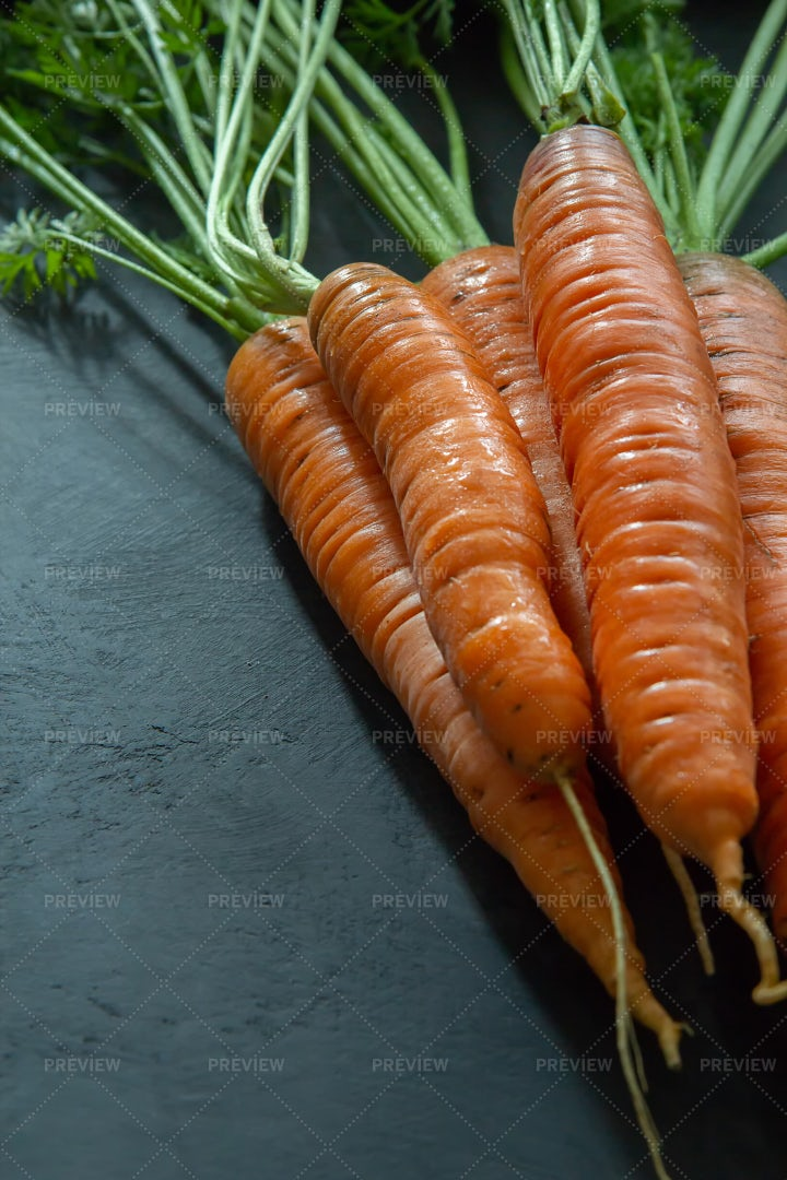 Fresh Carrots With Leaves: Stock Photos
