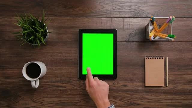 Man With iPad green screen: Stock Video
