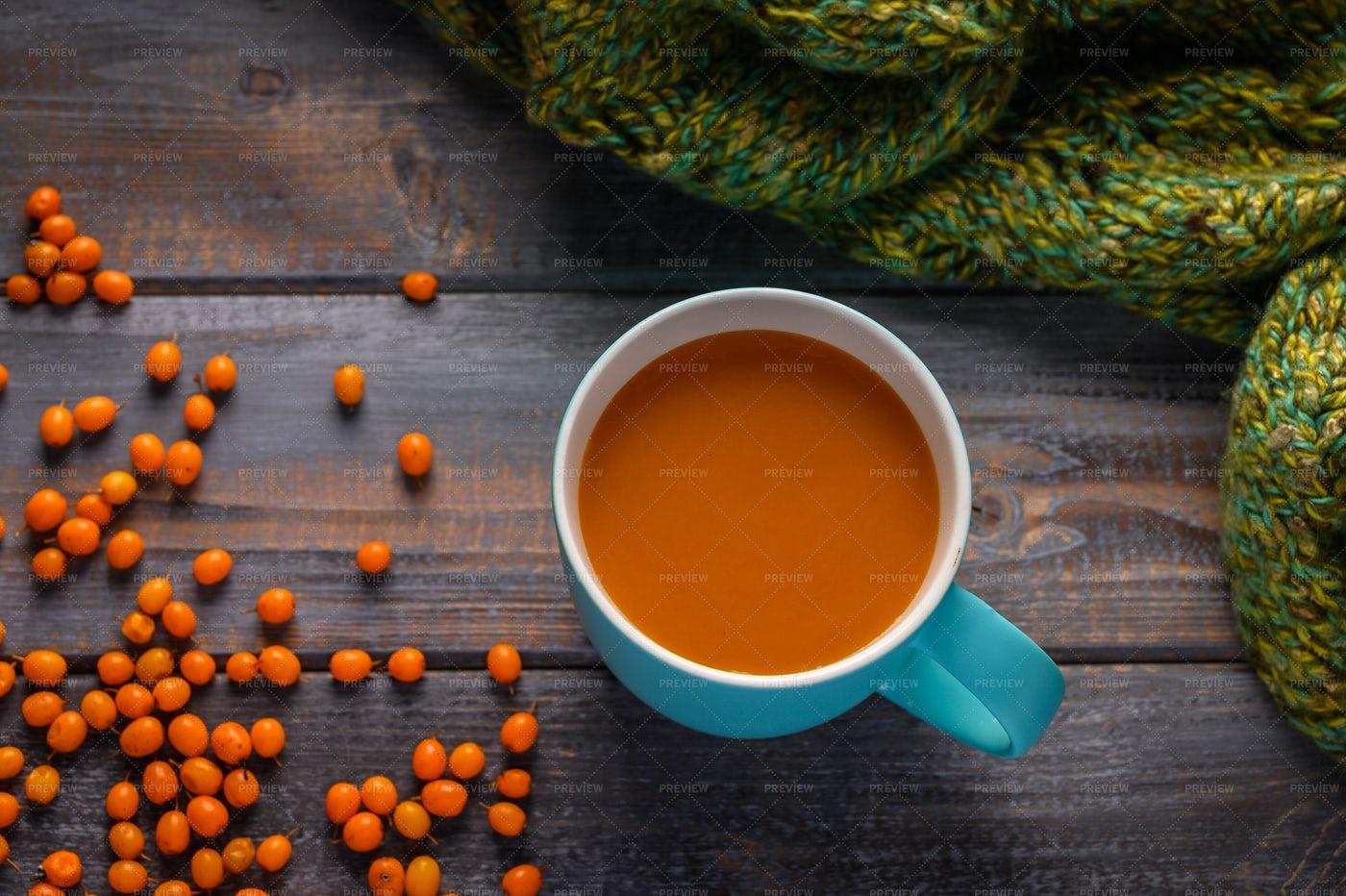 Juice And Warm Scarf: Stock Photos