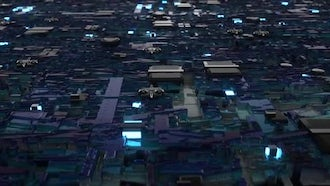 Microchip City Flyby Loop Slow: Motion Graphics
