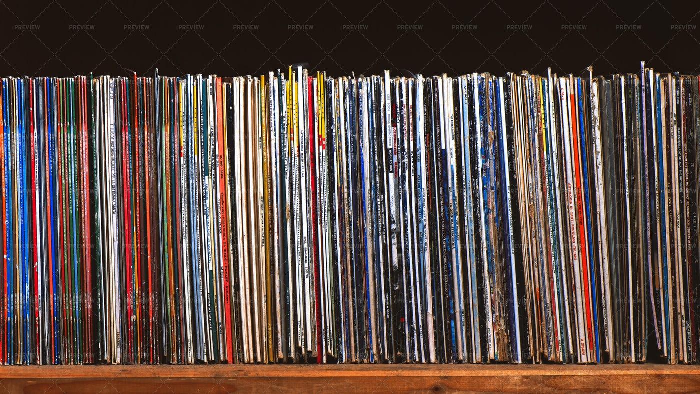 An Extensive Vinyl Collection: Stock Photos