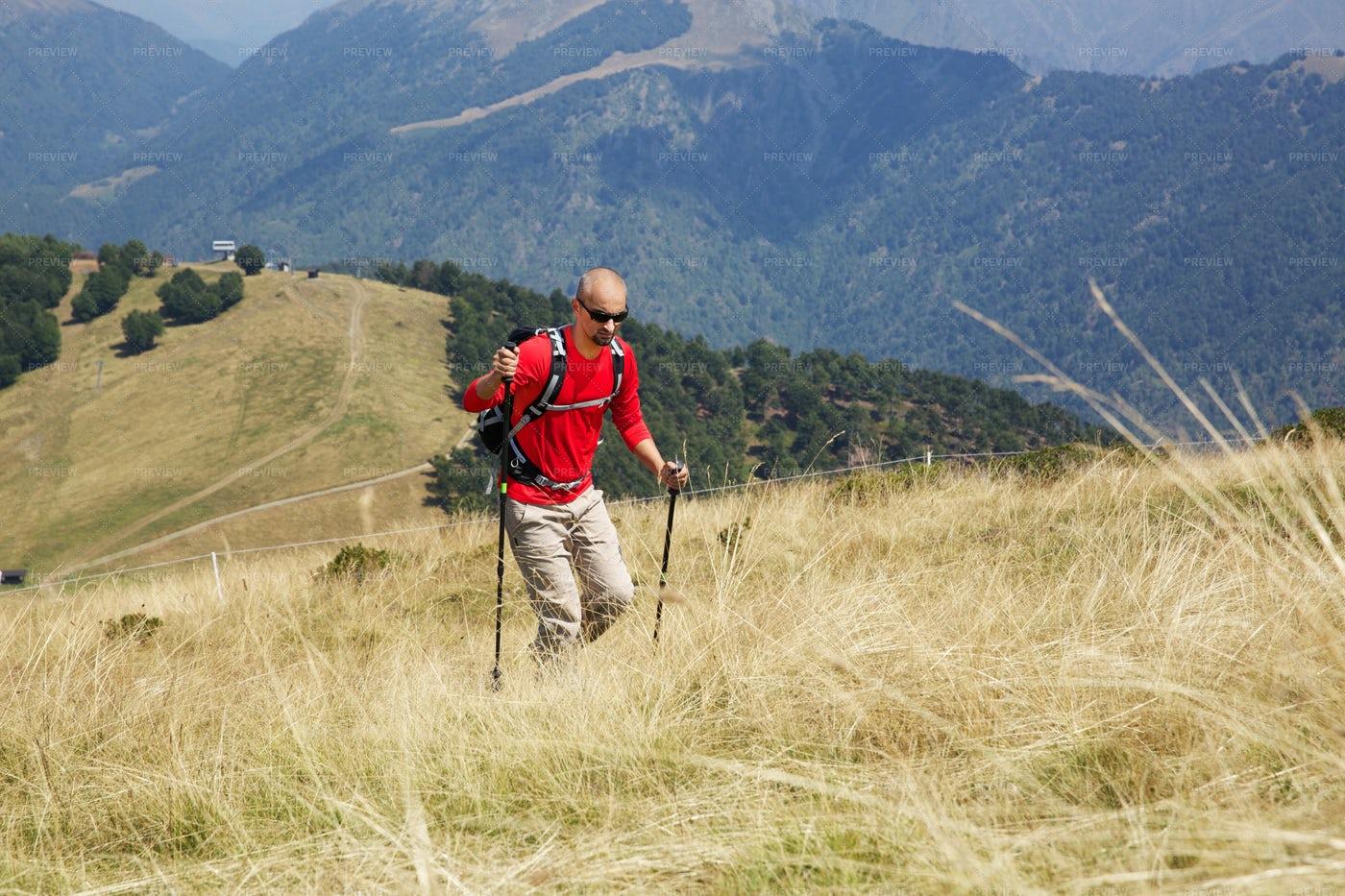 A Mountain Hiker: Stock Photos