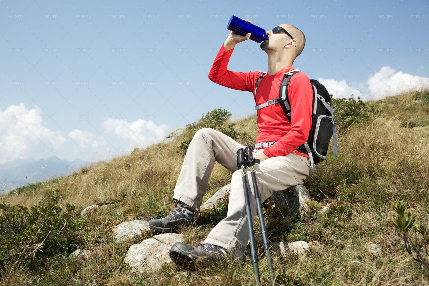 Hiker Drinking Water: Stock Photos