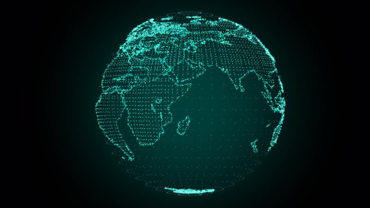 Digital Earth Rotating Green: Motion Graphics