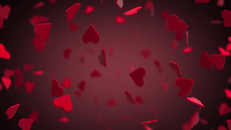 Valentines Hearts Flying 3D With Background: Motion Graphics