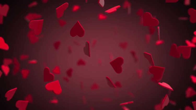 Valentines Hearts Flying 3D With Background: Stock Motion Graphics