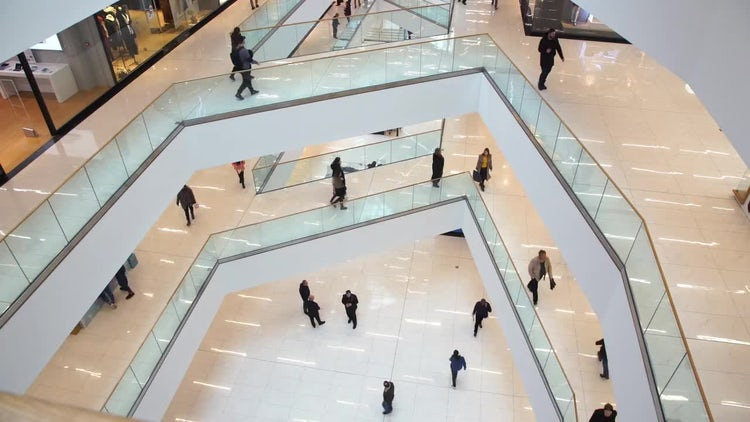 People Walk In The Mall: Stock Video