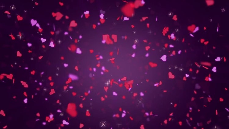 Valentines Day Hearts Falling Loop: Motion Graphics
