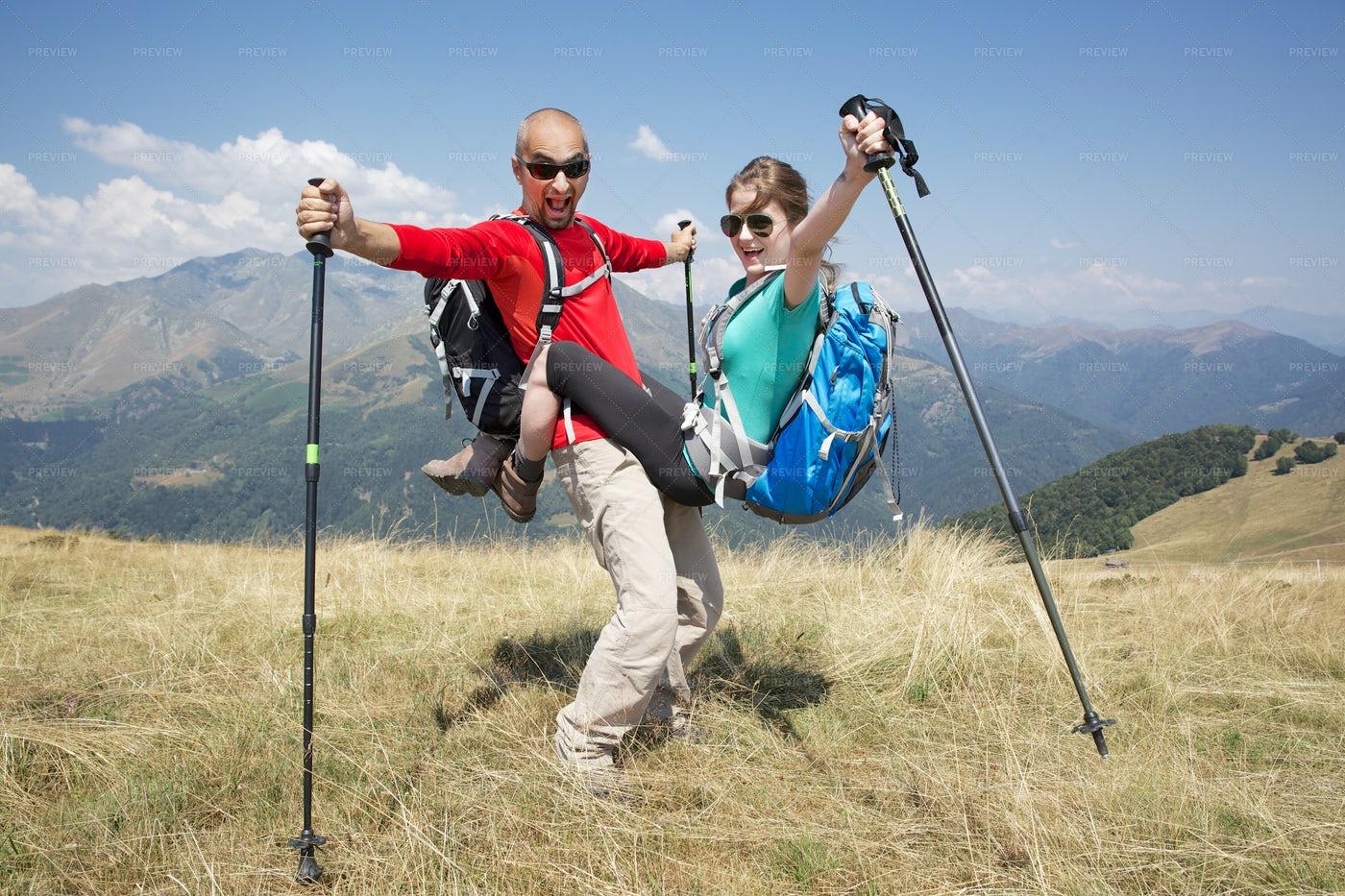 Happy Couple On The Mountains: Stock Photos